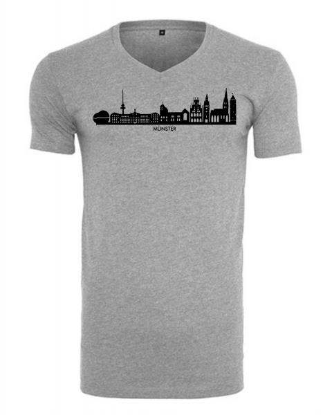 Münster Skyline Herren Shirt V-Ausschnitt grau